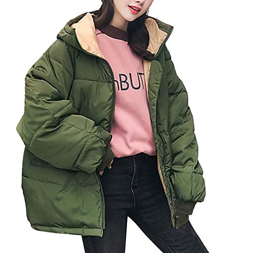 - iYYVV Womens Korean Winter Warm Outerwear Hooded Coat Cotton-Padded Down Jacket