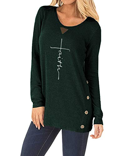 ZILIN Women's Faux Suede T-Shirt Long Sleeve Letter Print Tunic Shirts Tops Green
