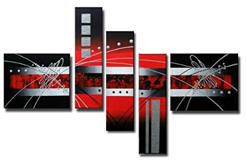 Wieco Art - Red Clouds Silver Lines Modern 5 Piece Stretched