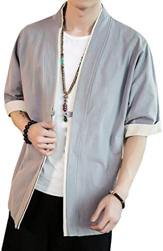 カーディガン メンズ 半袖 開襟シャツ カジュアル ゆったり 無地 和風 綿 夏 M-5XL
