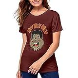 INFEP-Tshirt Fat Albert Hey Generic Printed Summer Women's Shirts Fashion Short Sleeves Burgundy L