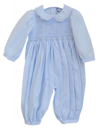 Carriage Boutique Girl's Hand Smocked Blue Long Sleeve Longall 9 Months Blue
