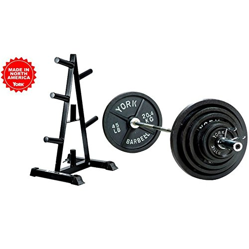 300lb Olympic Weight Set (300 lb Weight Set Includes Bar and Weight Tree with Weights) by York Barbell