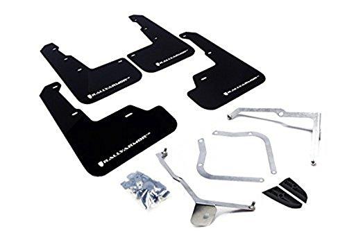 Rally Armor MF32-UR-BLK/WH Black, White Mud Flap with Logo (15+ Subaru WRX & STi Sedan Only UR)