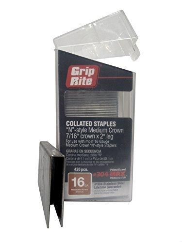 Grip Rite Prime Guard MAXB64892 16-Gauge 7 16 Medium Crown by 2 304-Stainless Steel Staples in Belt Clip Box by Grip Rite Prime Guard