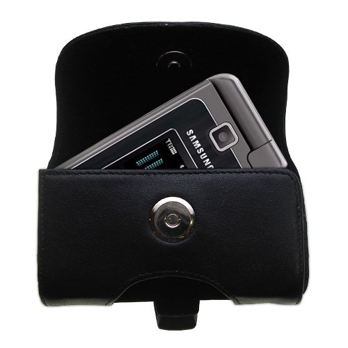 Gomadic Brand Horizontal Black Leather Carrying Case for the Samsung Alias 2 with Integrated Belt Loop and Optional Belt ()