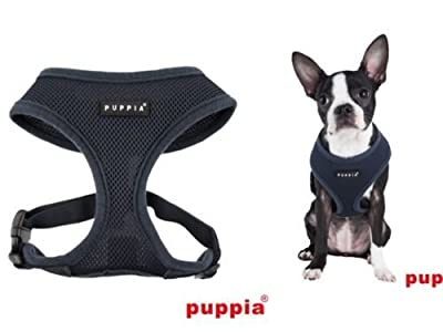 Authentic Puppia Soft Dog Mesh Harness, Grey from Puppia