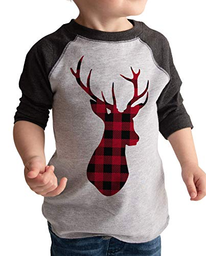 7 ate 9 Apparel Kids Plaid Deer Raglan Tee Grey 3T (Family Outfits Christmas Photos)