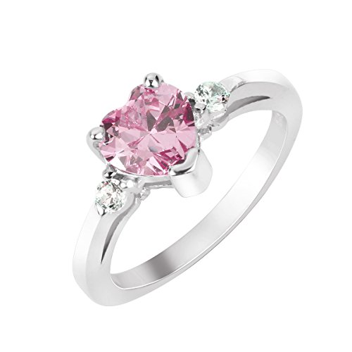 - CloseoutWarehouse Cubic Zirconia Pink Heart Promise Ring Sterling Silver Size 7