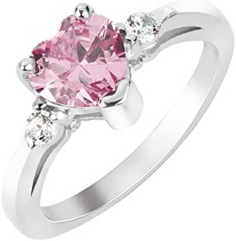 Heart Pink Cubic Zirconia Ring Sterling Silver 925 (Sizes 3-15)