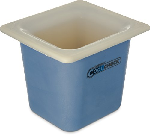"""Carlisle CM1104C1402 Coldmaster CoolCheck 6"""" Deep Sixth-Size Insulated Cold Food Pan, 1.6 Quart, Color Changing, White/Blue"""