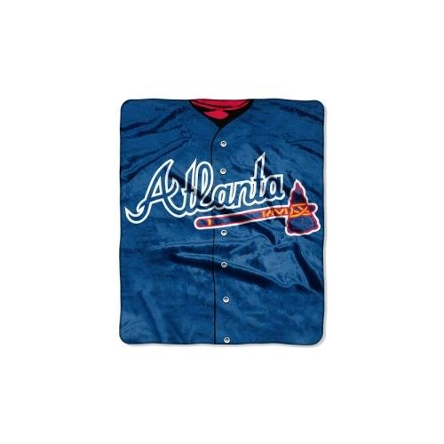 The Northwest Company MLB Atlanta Braves Jersey Plush Raschel Throw, 50' x 60'