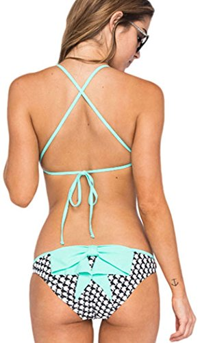 Booty Gal Women's Printed Push Up Bikini Swimsuit Bandeau Swimwear(SIZE M/GREEN)