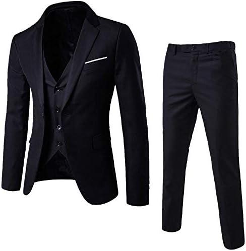 MMCICI Mens 3 Pieces Suits One Button Slim Fit Business Wedding Prom Suits Blazer Jacket Vest Pants