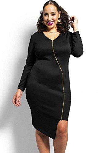 Neuf pour femme Taille plus Noir Fermeture éclair avant Robe midi Soirée Taille plus UK 12–14EU 40–42