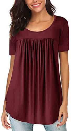 64815ae3221 Yidarton Women s Scoop Neck Pleated Blouse Solid Color Tunic Tops Shirts