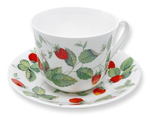 (Roy Kirkham Alpine Strawberry Breakfast Cup & Saucer in Fine Bone China Tea Set )