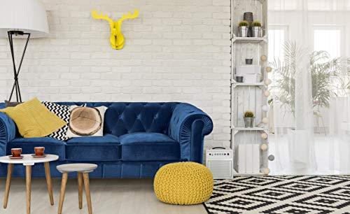 Menzzo Grand Canapé en Velours, Bleu, L207 x P80 x H72 cm