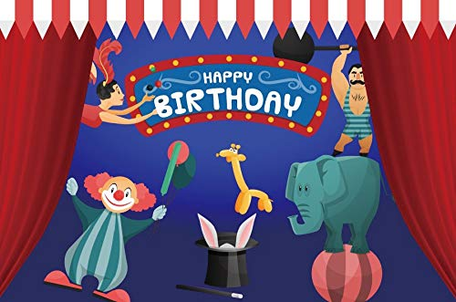Yeele 10x6.5ft Circus Birthday Party Photo Backdrop Animal Juggling Acrobatics Performing Background for Photography Kid Girl Boy Baby Shower Decoration Banner Portrait Photo Booth Shoot Studio Props]()