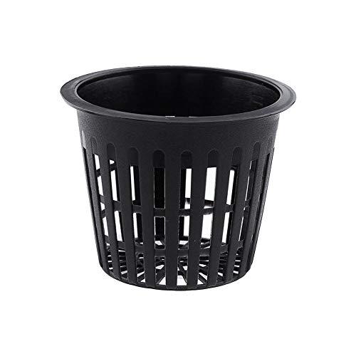 Yosoo Hydroponic Planting Mesh Pot Net, Pack of 10 Plastic Basket Garden Plant Grow Cup (Black)