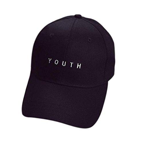 Longra Stickerei Baumwoll Baseballmütze Jungen Kappe Mädchen Hysteresen Hip Hop Wohnung Hut (schwarz)