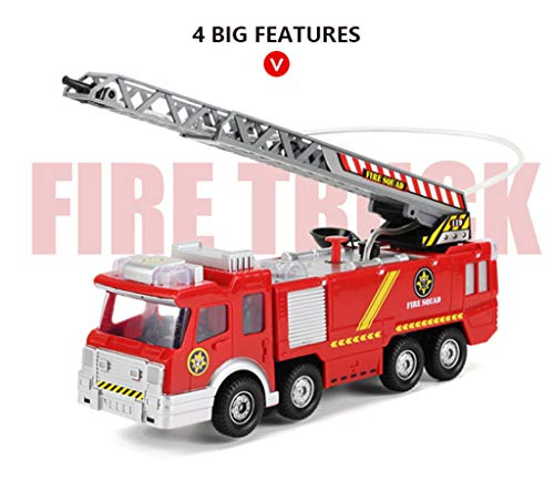 ♛Euone Fire Truck Toy ♛Clearance♛, Shooting Water Lights N Sounds Fire Truck Toy Rescue Vehicle Gift Inertia Toy for Kids