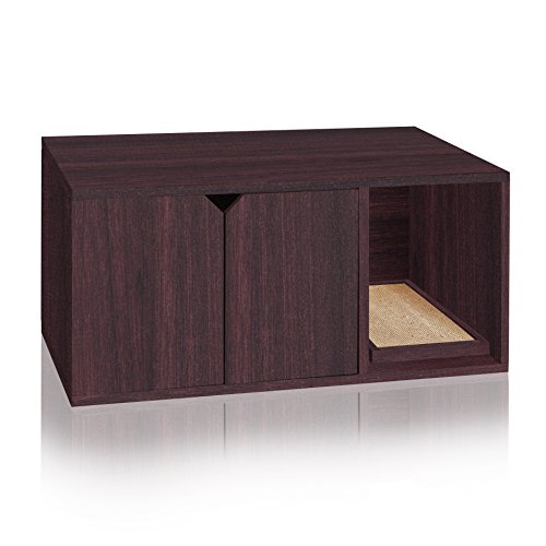 Way Basics Eco Friendly Modern Cat Litter Box Furniture Enclosure, Espresso Wood Grain (Tool-Free Assembly and Uniquely Crafted from Sustainable Non Toxic zBoard paperboard)