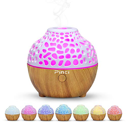 Pinci Essential Oil Diffuser,60ml Portable Mini Aromatherapy Diffusers,Cool Mist Vaporizer Humidifier with USB 7 LED Light Color,Waterless Auto Shut-Off for Home Office Bedroom Travel