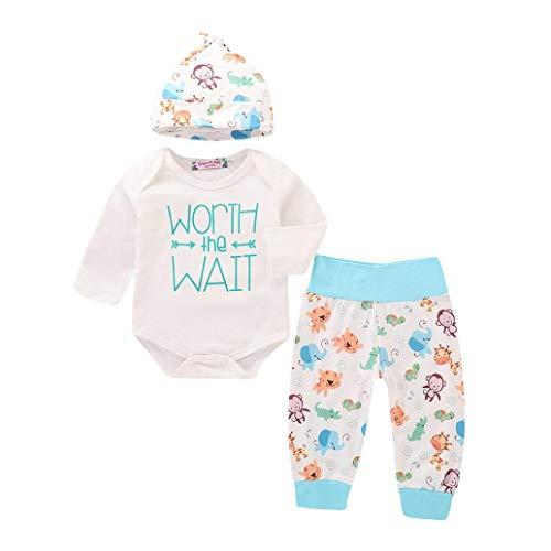 Hunzed Baby Kids 3PCS Outfit Set, Toddler Boys Girls Letter Print Romper+Cartoon Animal Print Pants+Hat (6M, ()