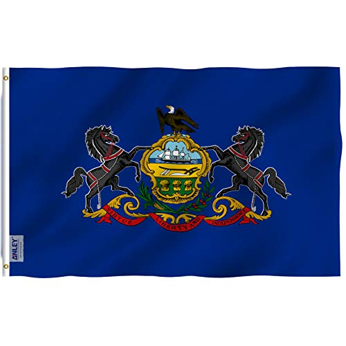 Anley Fly Breeze 3x5 Foot Pennsylvania State Flag - Vivid Color and UV Fade Resistant - Canvas Header and Double Stitched - Pennsylvania PA Flags Polyester with Brass Grommets 3 X 5 Ft