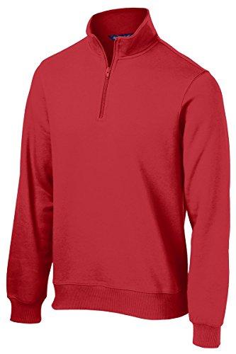Sport-Tek Men's Big And Tall 1/4-Zip Waistband Sports Sweatshirt,Large Tall,True Red (Sweatshirt Zip 1/4 Heavyweight)