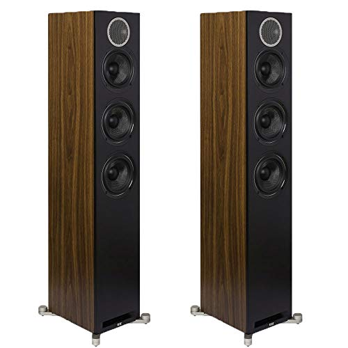 ELAC Debut Reference DFR52 F5.2 Floorstanding Tower Speaker Pair – Black Baffle, Walnut Cabinet