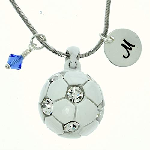 Personalized Soccer Ball White Pendant Sparkling Crystals Custom Necklace Hand Stamped Initial Letter and Birthstone Charms Chain Gift Jewelry