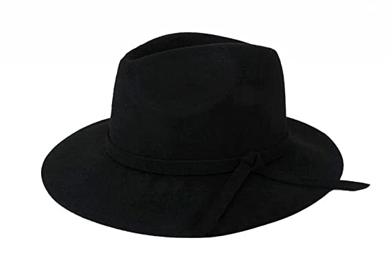 1b1a4d088b2 JTC Vintage Women s Wide Brim Wool Felt Bowler Fedora Hat Floppy Winter Cap  Multi Style (1  Bow Black)  Amazon.co.uk  Clothing