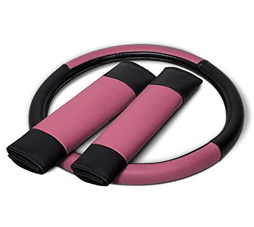 Motorup America Leather Steering Wheel Cover - Fits Select Vehicles Car Truck Van SUV - Pink & Black