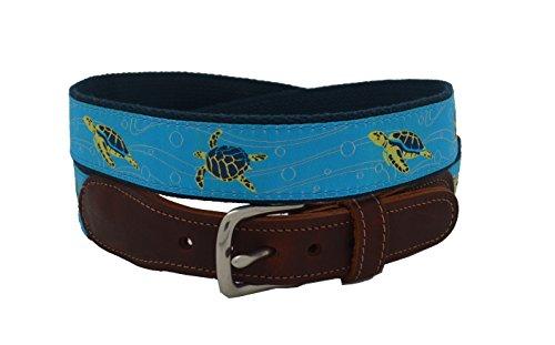 Preston Leather Men's Sea Turtle Ribbon Belt Size (Turtle Belt)