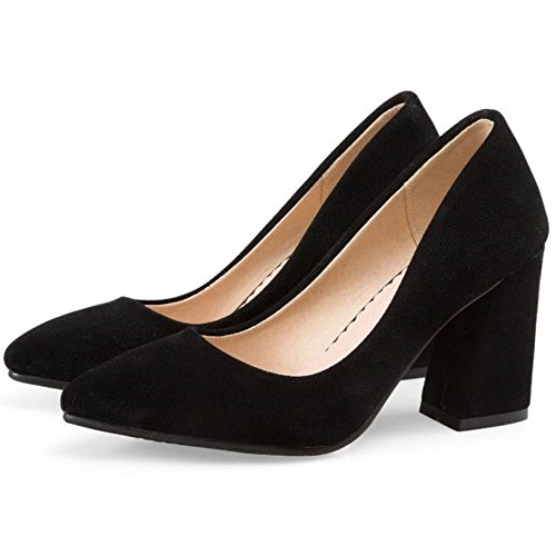 Shoes OL Black Pumps Heel Fashion Solid TAOFFEN Women Style Block wX6UUq