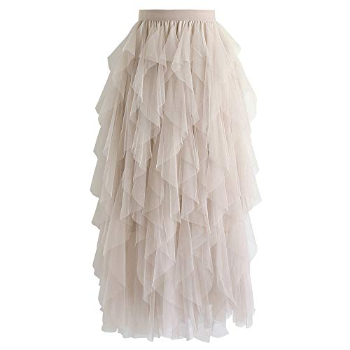 Chicwish Women's Cream Tiered Layered Mesh Ballet Prom Party Tulle Tutu A-line Midi Skirt