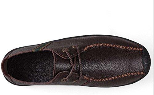Zapatos Men'S Casual Shoes Zapatos Hombres Cuero Redonda Cabeza Pisos Bajos Senderismo Zapatos , dark brown , 40