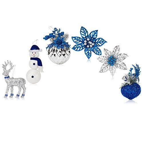 Santas Gems Christmas Decorations Tree Ornaments Set Blue and Silver in Keepsake Box