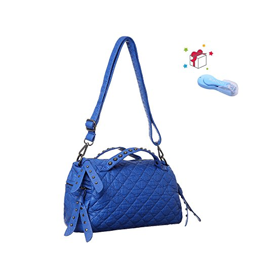 (Top Handle Satchel Handbag for Women Vegan Leather Shoulder Bag with Crossbody Strap Ladies Quilted Barrel Baguette Purse Katloo (Blue))