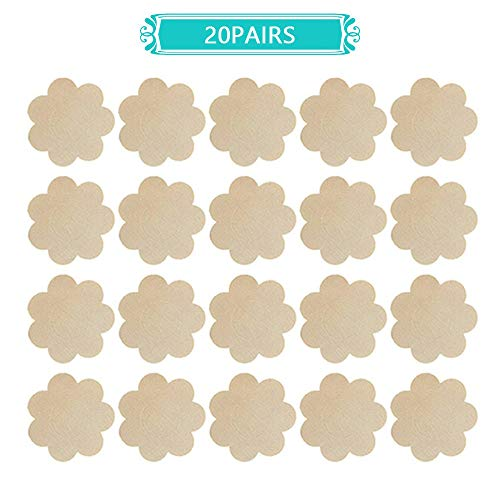 (Nipple Breast Covers, Disposable Breast Pasties Adhesive Bra Nippleless Cover (Beige 20 Pairs New)