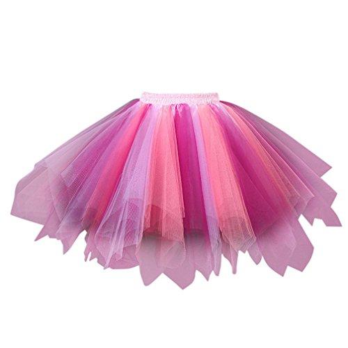 Fathoit Chic Mode Ballet Tutu en Tulle Jupe Courte Style Haute Qualit Plisse Jupe Courte Tutu Danse Jupe Multicolore-a