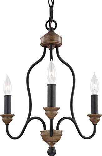 Weathered Bronze Silhouette - Feiss F2997/3DWZ/WO Hartsville Farmhouse Candle Chandelier Lighting, Bronze, 3-Light (17