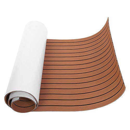 Yosooo EVA Teak Decking Sheet Boat Flooring Non-Slip Marine Flooring Mat Carpet Floor Pad Boat Decking Sheet Fit forYacht/RV Flooring Sheets 94X35.4X0.24In (Dark Brown) ()
