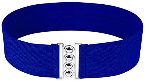 (Modeway Women 3inch Fashion Wide Belt Elastic Stretch Waist Belt, Metal Buckle Waistband (M-L, Royalblue) A4-2)