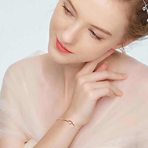 ANBALA Love Knot Bangle Bracelet Bridesmaid Gifts Bracelets, Tie The Knot Cuff Bangle Stretch Bracelet for Bridesmaid, Rose Gold Tone, Set of 6 by ANBALA (Image #2)