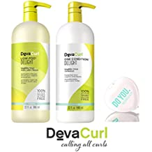 DevaCurl DELIGHT Low-Poo Weightless Waves Cleanser & DELIGHT One Condition Weightless Waves Conditioner DUO Set (with Sleek Compact Mirror) (Delight - 32 oz Large Liter Duo Kit)