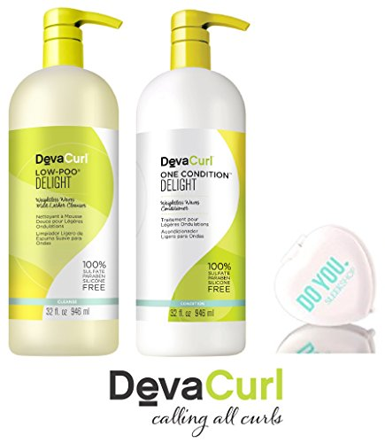 - DevaCurl DELIGHT Low-Poo Weightless Waves Cleanser & DELIGHT One Condition Weightless Waves Conditioner DUO Set (with Sleek Compact Mirror) (Delight - 32 oz Large Liter Duo Kit)
