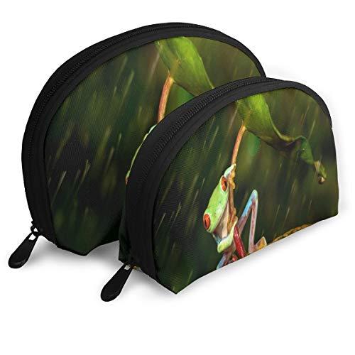 (Makeup Bag Frog Orange Leaf Funny Green Umbrella Portable Shell Cosmetic Bags Set Case for Women,Girls 2 Piece )